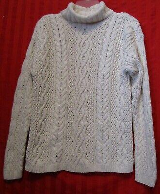 Vintage Cozy Wool Blend Cable Knit Turtleneck Sweater Size M