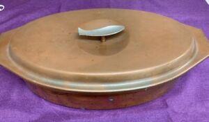 Vintage-Copper-Oval-Fish-Poacher-Mid-Century-Style-Fish-Handle