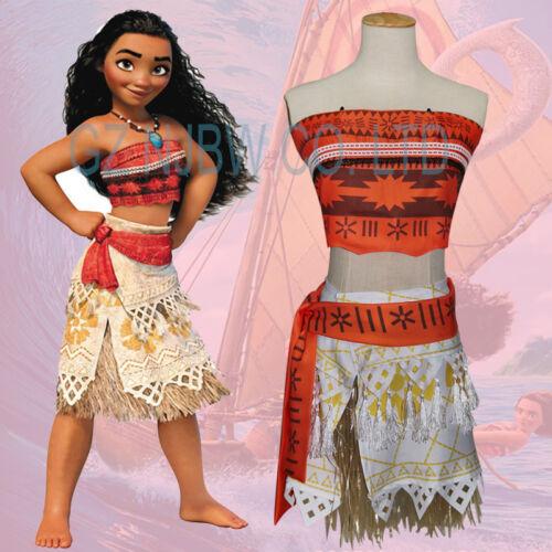 Kids Girls Moana Princess Costume Hawaiian Fancy Dress Skirt Grass