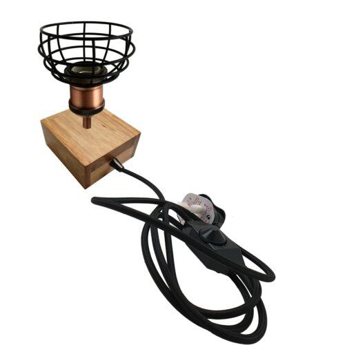 Wooden Base Table Lamp Vintage Filament Light Bulb Bedside Plug in Retro Light