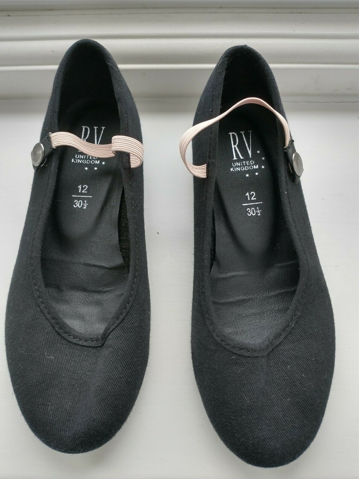Girls Black Ballet Character Shoes size 12/30.5