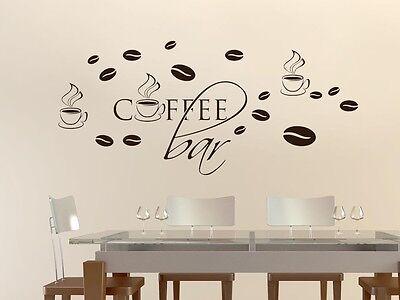 Wandtattoo Wanddeko Aufkleber Set für Küche Spruch Coffee bar Bohnen Tassen