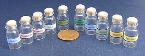 1:12 Scale 10 Empty Glass Storage Jars Tumdee Dolls House Apothecary Set 5 G25M