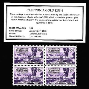 1948-CALIFORNIA-GOLD-Mint-Never-Hinged-Block-of-Vintage-Postage-Stamps