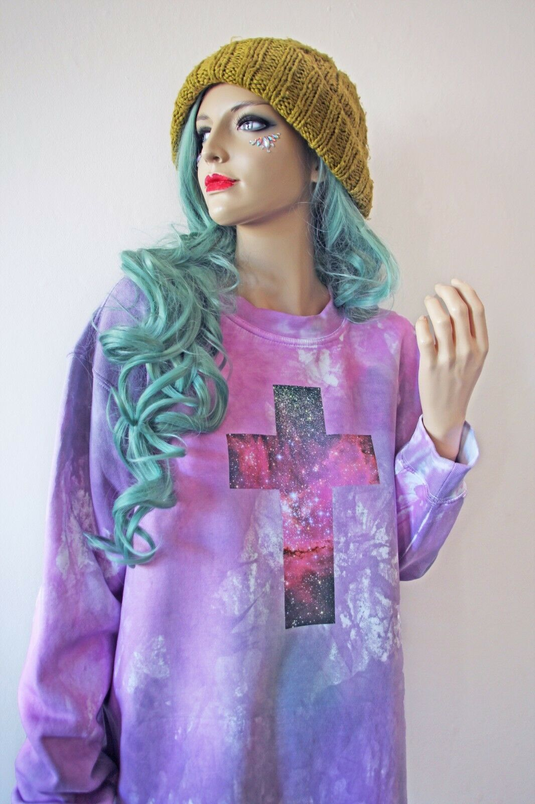 CRUCIFIX Cross Pastel Goth Space Kawaii Hipster Oversized Grunge Tie Dye Jumper