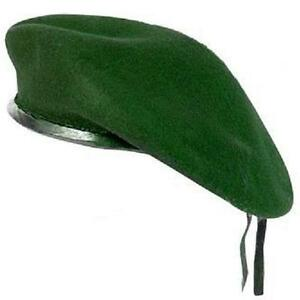 NEW-GREEN-WOOL-MENS-LADIES-BERET-CAP-HAT-ARMY-MILITARY-FANCY-DRESS-TACTICAL