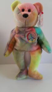 Ty Peace Bear, retraité - fabriqué en Indonésie 1996 parfait état Sib Bb 24p
