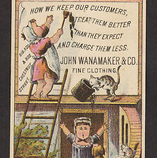 early 1880's Antique Cat John Wanamaker Philadelphia Victorian Advertising Card