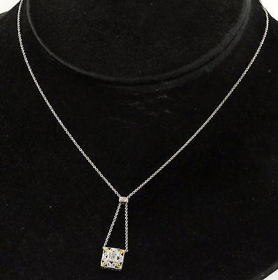 18K WG elegant .15CT White & Yellow diamond necklace pendant