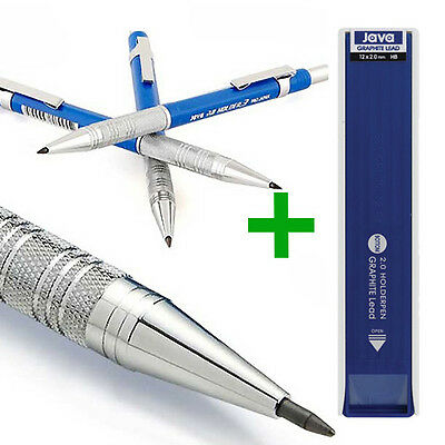 JAVA 2.0mm Lead Holder Pen3 Mechanical Pencil + HB Drafing Graphite Leads - SET