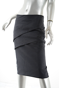 BRUNELLO CUCINELLI Charcoal Wool Stretch Flannel Skirt  US8 I44  NWT   705