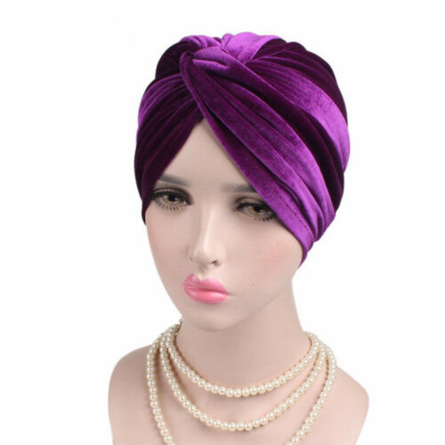 Women Muslim Velvet Turban Hijab Hats Stretch Chemo Beanie Cap Indian Cap DE SAC