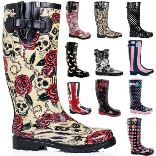 FIRE SALE New Womens Funky Snow Rain Welly Wellies Wellington Flat Boots