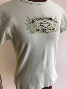 Harley-Davidson-tshirt-rhinestones-pale-green-juniors-L-floral-Sheboygan-WI-Mint