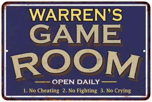 WARREN/'S Blue Game Room Personalized Sign Metal Wall Decor Gift 112180002472