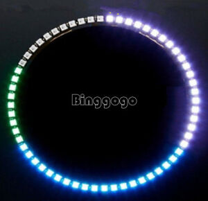 Ring uhr 60 ultra hellen ws2812 5050 rgb led lampe wandpaneel f r arduino ebay - Led wandpaneel ...