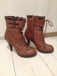 ALDO-Brown-Real-Leather-Women-039-s-Heeled-Boots-Size-5-EU-38