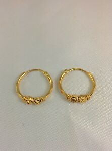 Real 22k Solid Yellow Gold Hoop Earrings Diamond Cut Design India 22