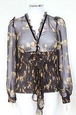 DOLCE & GABBANA Floral Sheer Blouse Silk Shirt top 40 uk 8