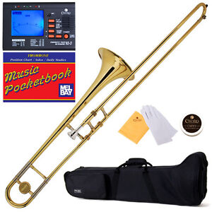 Mendini-Gold-Lacquered-Bb-Slide-Trombone-Tuner-Case-MTB-L