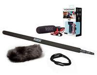 Rode Videomic Microphone Booming Kit 1 - Boom, Black Wind Muff & 10' Cable