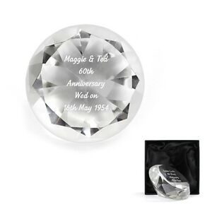 Image is loading PERSONALISED-Engraved-Diamond-60th-Wedding-Anniversary -Cut-Glass-