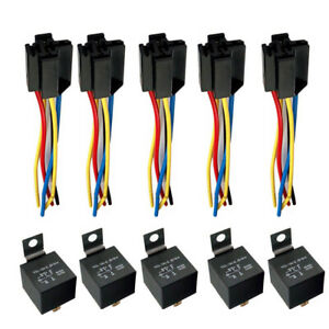 Details about Car SPDT 5 SETS Automotive Relay + Wire Harness Socket on