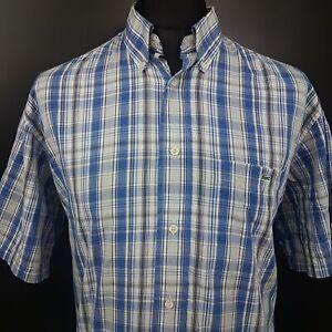 Lacoste-Mens-Vintage-Shirt-43-XL-Short-Sleeve-Blue-Regular-Fit-Check-Cotton