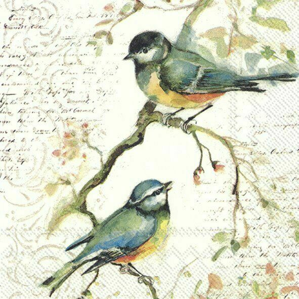 4 Lunch Paper Napkins for Decoupage Party Table Craft Vintage Autumn Bird