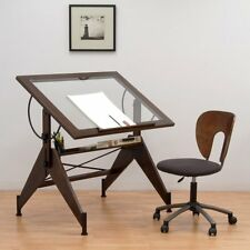 Studio Designs Aries Glass Top Drafting Table - Sonoma Brown/Clear Glass 13310