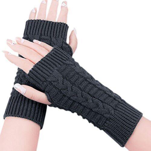 Fashion Fingerless Winter Gloves Unisex Men Women Knitted Soft Warm Mitten Top