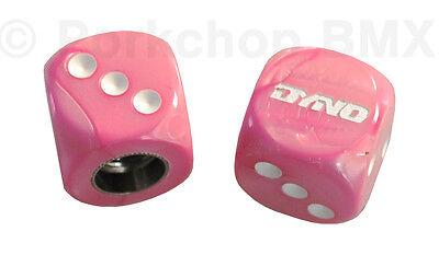 "PAIR Dyno /""D/"" logo old school BMX bicycle tire Schrader valve DICE caps BLUE"