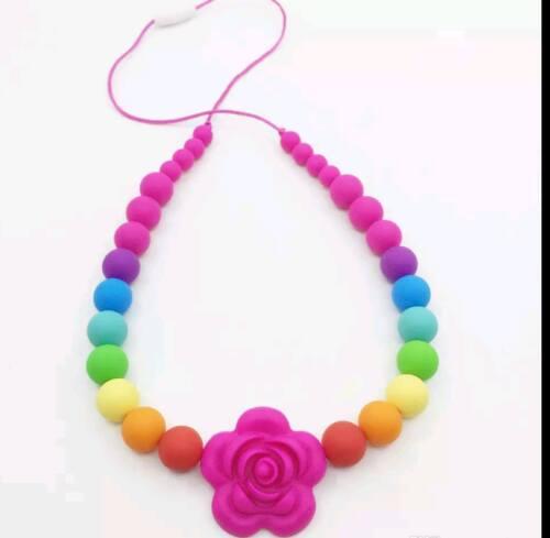 Teething necklace sensory chew baby wearing autism BPA free RAINBOW FLOWER UK