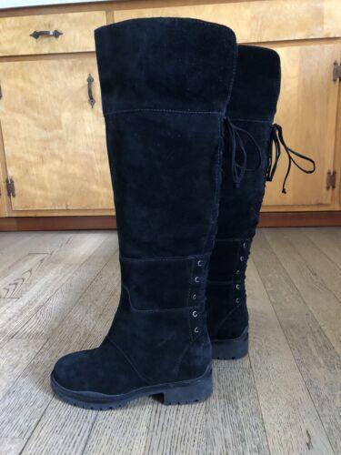 Nine West Mavira Lace Tall Suede Leather Black Boo