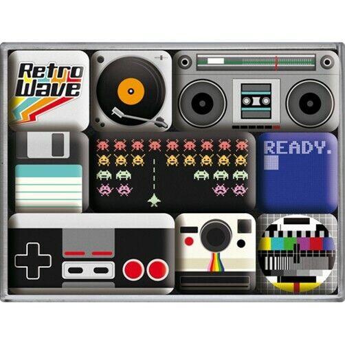 Retro 9 pc Metal Magnet Set 'RETRO WAVE' Vintage Vinyl, Cassette, TV, Polaroid