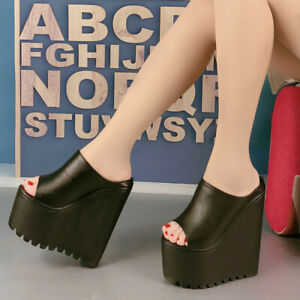 Womens Mules Shoes Wedge Sandals Round Toe High Heels Platform Slippers Clubwear