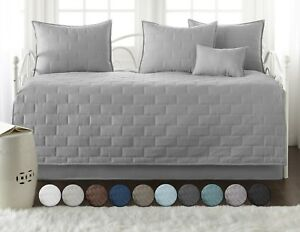 Premium-Collection-6-Piece-Embroidered-Brickyard-Solid-Daybed-Cover-Set