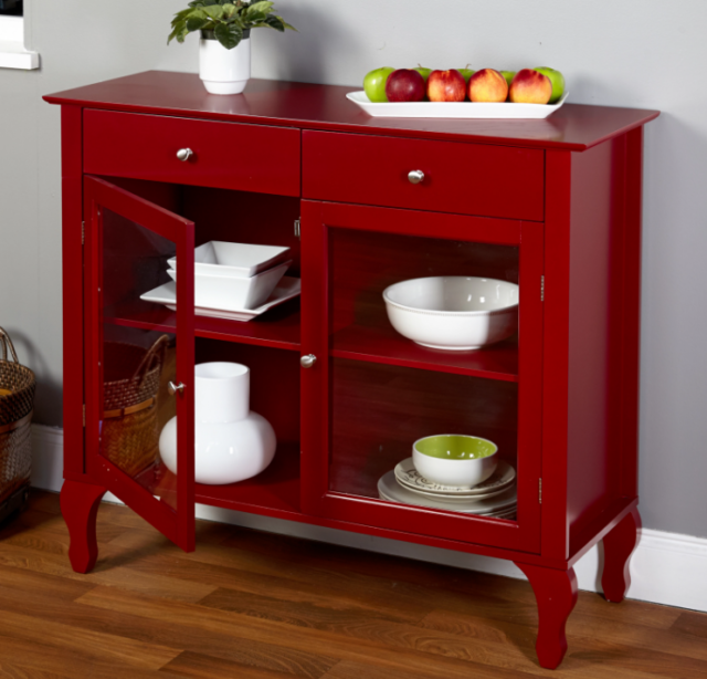 Living Room Buffet Cabinet Dining Red Wood Glass Hutch Transitional Storage  Food For Sale Online | EBay