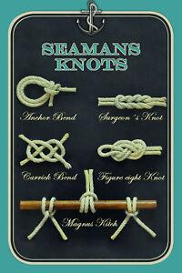 Seamans Knots Seemannsknoten Blechschild Schild Tin Sign 20 x 30 cm CC0249