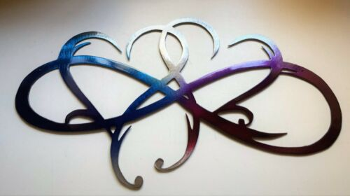 """Dual Infinity Hearts Metal Wall Art Accent Two Hearts Become One 18 1//4/"""" wide"""