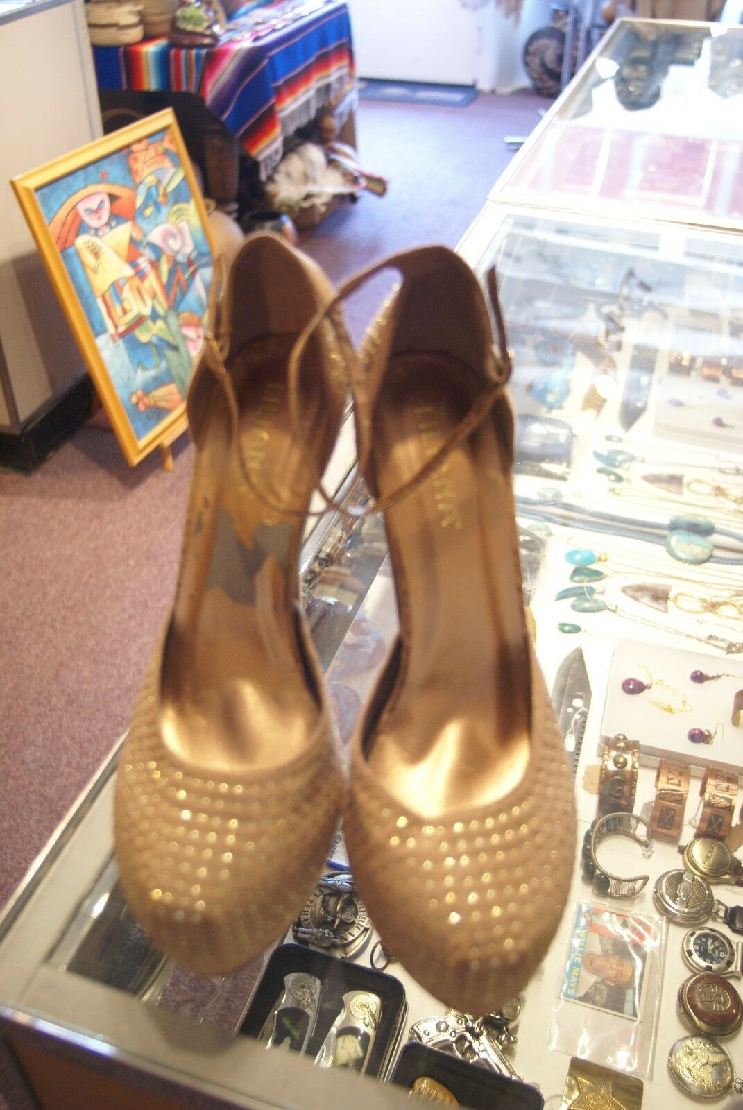 Liliana gold synthetic very 9 high heels size 9 very M 1828bd