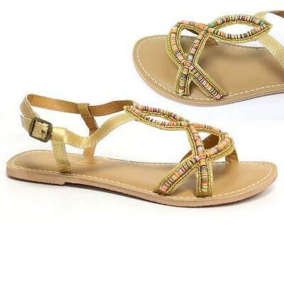 Señoras sandalias de gladiador nuevo para mujer Plana Con Tiras De Verano Playa Zapatos Talla