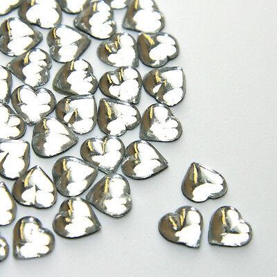 50 6mm Crystal Clear Heart shape Hot Fix/Iron on Rhinestones/Diamante