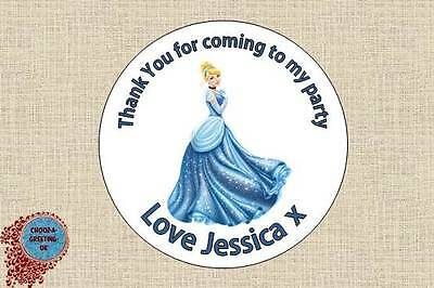 12 X 60mm Personalised Princess Birthday Party Thank You Sticker Labels Seal 03