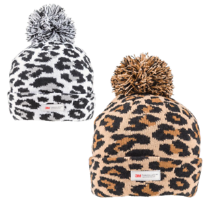KNITTED THINSULATE LEOPARD ANIMAL PRINT THERMAL SKI BOBBLE POM BEANIE WOOLLY HAT