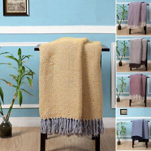 100-Cotton-Woven-Diamond-Geometric-Sofa-Bed-Throw-in-6-colours-4-Sizes