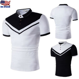 Stylish-Men-039-s-Slim-Fit-Shirt-Short-Sleeve-Summer-Casual-T-shirt-Tees-Tops-Blouse