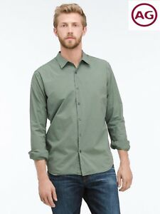 NWT-125-AG-ADRIANO-GOLDSHMIED-PIVOT-LONG-SLEEVE-PIGMENT-GLADE-COTTON-SHIRT-L