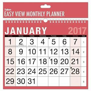 2017 a4 easy month to view spiral bound wall planner calendar home
