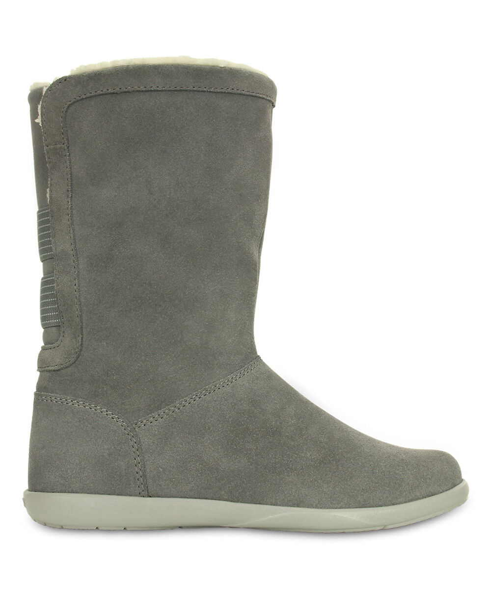 Mejor precio Nuevo para mujer mujer mujer Crocs humo Adela Fold-Over Fuzz Gamuza botas Zapatos  compra limitada